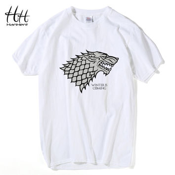 HanHent Game of Thrones Wolf T-shirt Stark Winterfell Cotton Tee shirt Winter is coming Streetwear Funny Swag T shirt  TH0460