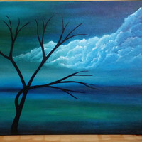 Blue cloud painting, canvas painting, tree silhouette, blue wall decor, cloud paintings, faded cloud painting, limited wall art, sky scene