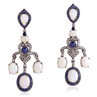 18k Gold Diamond Opal Chandelier Earrings