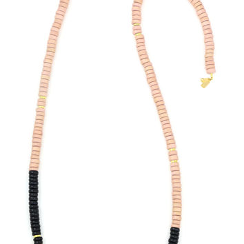 Sylvia Benson Long Haze Necklace in Blush with Black