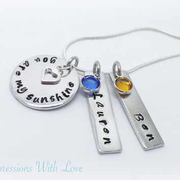 you are my sunshine hand stamped multi pendant personalised necklace mother children grandchildren