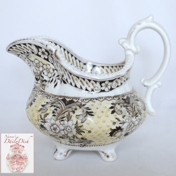 Antique 19C  Staffordshire Yellow & Brown Two Color Transferware Creamer Pitcher Roses Ridgway