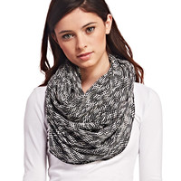 Black & White Knit Infinity Scarf | Wet Seal