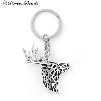 "DoreenBeads 3D Keychain & Keyring Key Chains Deer Animal antique silver color Christmas Gift 8.8cm(3 4/8""), 1 Piece"