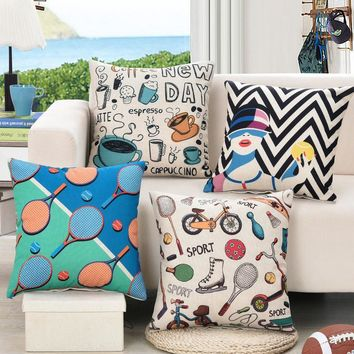 (4pieces/lot) Sports Tennis Decorative Cushion Cover Throw Pillowcase Polyester