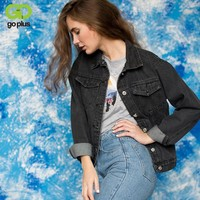 Fashion Black Vintage BF Denim Jacket Jeans Women Basic Coats Short Jean Outerwear