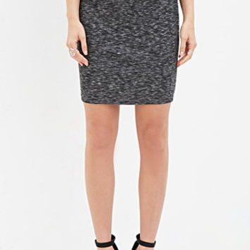 Marled Knit Bodycon Skirt