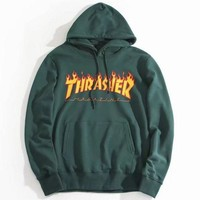 DCCKB62 THRASHER' Fashion Casual Women High Quality  Print Flame Movement  Hooded Sweater