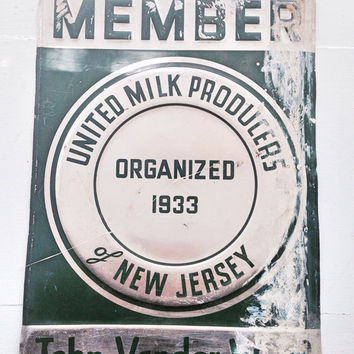 Member United Milk Producers Of New Jersey 1933 Sign / Vintage Dairy Advertising Sign