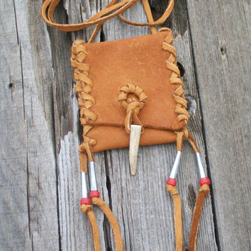 Buckskin amulet bag with antler tip closure , Leather necklace bag , Ready to ship