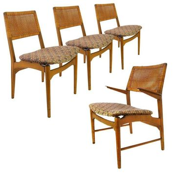 Pre-owned Vintage Caned Danish Teak Dining Chairs - Set of 4