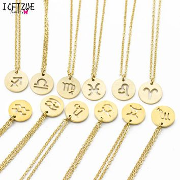 Constellation Jewelry Gold Silver Virgo Libra Scorpio Sagittarius Capricorn Aquarius Zodiac Necklace Circle Pendant Erkek Kolye