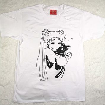 Hillbilly Japan Sailor Moon Cat Funny Off White  O-Neck Top Tee Quadratic Element t shirt Kawaii Plus Size Harajuku Women Tee
