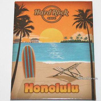 Licensed cool 2017 HONOLULU HAWAII Hard Rock Cafe Frig Magnet Poster Beach Palm Tree Sunset