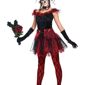 Adult Red Rose Sugar Skull Costume- Party City