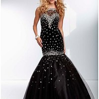 Buy discount Chic Tulle Jewel Neckline Mermaid Prom Dress With Train at Dressilyme.com