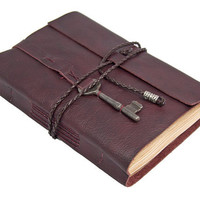 Burgundy Leather Journal with Skeleton Key Bookmark and Tea Stained Pages