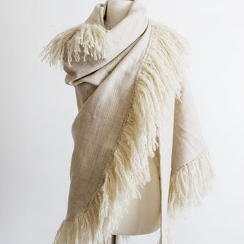 Tweed Shawl, Woolen Wrap - Ivory Tan, Herringbone // Fringe Scarf, Worsted Wool // Extra Large, Womens Accessory, Vinatge, 60's