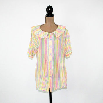 70s Vintage Maternity Clothes Short Sleeve Blouse Large XL Cotton Stripe 1970s Vintage Clothing Womens Clothing