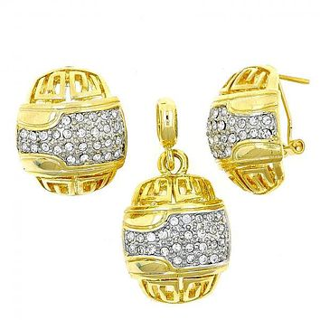 Gold Layered 10.59.0006 Earring and Pendant Adult Set, Greek Key Design, with White Crystal, Polished Finish, Two Tone