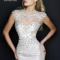 Beaded High Neckline Dress by Sherri Hill
