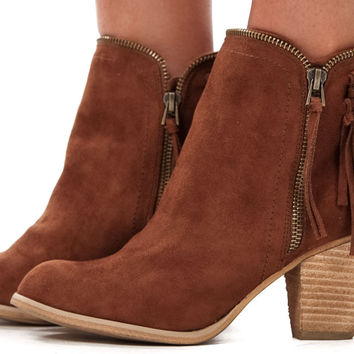 Tan Suede Fringe and Chain Bootie