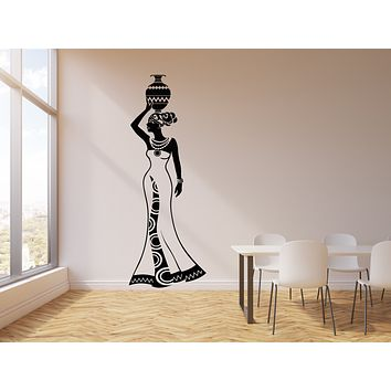 Vinyl Wall Decal Beautiful Woman With Jug African Africa Ethnic Style Stickers Mural (g934)