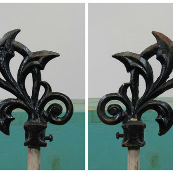 Ornate Pair of Cast Iron Garden Gate Finials Flame Or Gothic Curtain Rod Ends