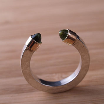Sterling and gold Points Ring featuring labradorite