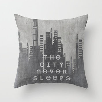 The City Never Sleeps Throw Pillow by Ally Coxon | Society6