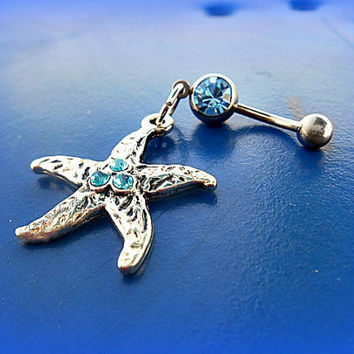 Turquoise Starfish Belly Ring, Starfish Navel Piercing, Body Jewelry, Nautical Belly Ring, Sea, Nautical Belly Button, Ready to Ship