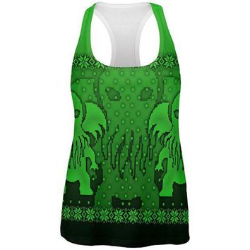 PEAPGQ9 Ugly Christmas Sweater Big Cthulhu Greater Gods All Over Womens Work Out Tank Top