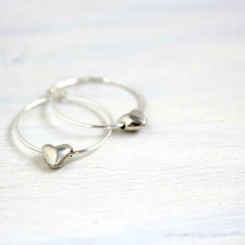 Valentines Gift Dainty Minimalist Metal Jewelry Bohemian Mini Small Sterling Silver Hoops Heart Earrings