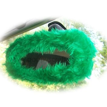 Emerald Green faux fur rear view interior car mirror cover