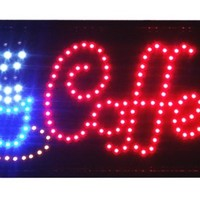 Animated LED Neon Light Open Sign, 3 Way Animation Switch + Chain (Coffee 10x19)
