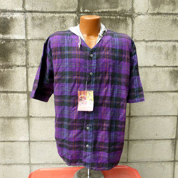 Shah Safari Shirt Vintage 1990s Deadstock Hooded Drug Rug Pullover Flannel Plaid Hood Men's size M