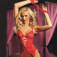 Sexy Lingerie Lace Dress Handcuff Babydoll Sleepwear Underwear G-String Night