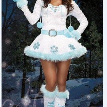 White Light Blue Fur and Snowflake Long Sleeve Christmas Dress