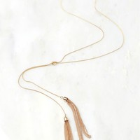 Knotted Chain Tassel Necklace Gold