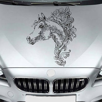 horse Head car hood decal horse Head Car Decals floral ornament Car Truck horse Head Side Body Graphics Decal horse Sticker for car kikcar73
