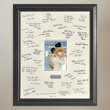 Personalized Wedding Wishes Signature Frame with engraved plate