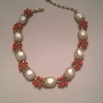 Vintage Crown Trifari Coral and Pearl Necklace Costume Jewelry