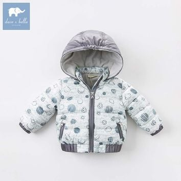 DBM6550 dave bella autumn winter baby boys down jacket children star moon printed coat kids hooded outerwear