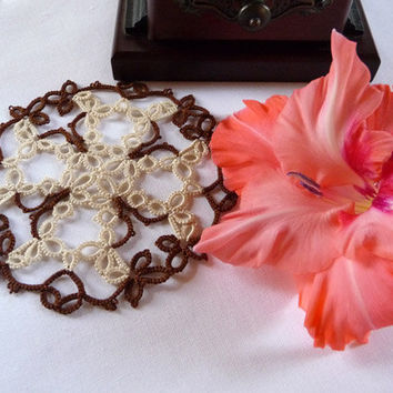 Handmade Lace Coasters  - handmade doily -  home decor - tatting coasters