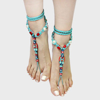 Braided & Beaded Boho Barefoot Sandals - Turquoise