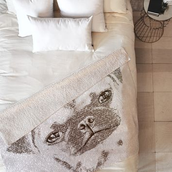 Belle13 The Intellectual Pug Fleece Throw Blanket