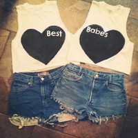 BFF Best Friends Heart crop top