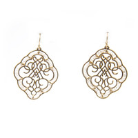 Swirled & Beaded Dangle Earrings In Gold