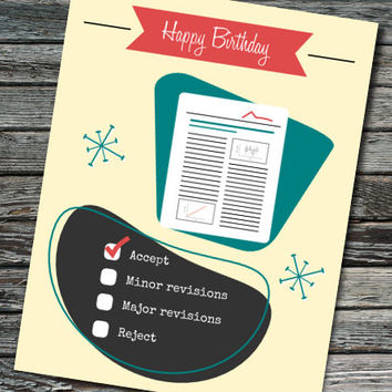 Peer Reviewer Nerdy Science Birthday Card | Academia, Student, Teacher, Professor, Scientist, Engineer