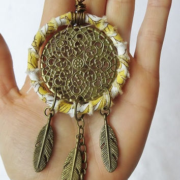 Yellow & White Fabric Wrapped Dream Catcher Necklace, Vegan Dream Catcher Necklace, Dream Catcher Necklace, Dreamcatcher Necklace